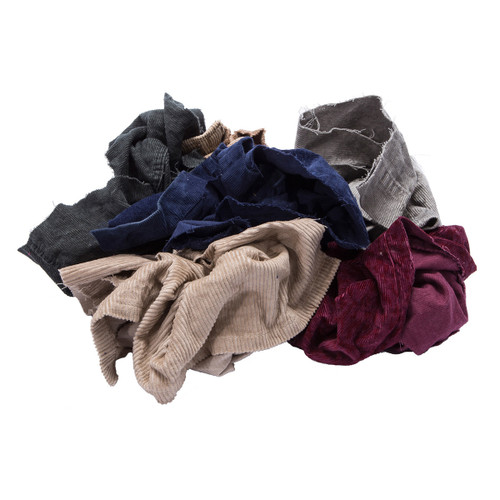 Corduroy Rags Bulk Recycled Mixed Colors, shown crumpled