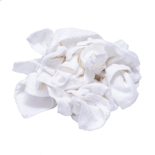 Terry Washcloth Rags Bulk New White, shown crumpled