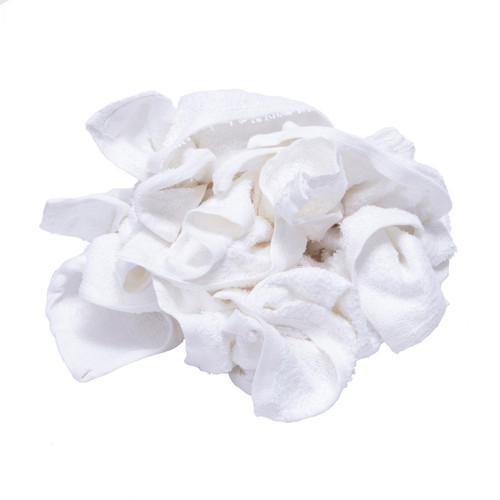 Terry Washcloth Rags Bulk New White, shown crumpled