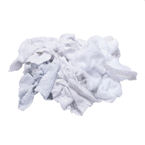 Terry Toweling Rags Bulk Recycled Large Pieces White, shown crumpled