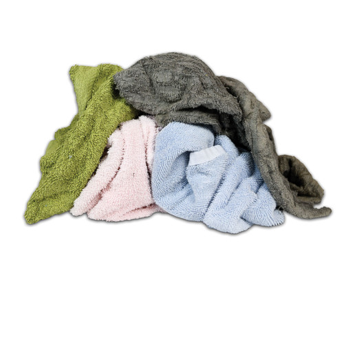 Terry Toweling Bulk Recycled Large Pieces Mixed Colors, shown crumpled