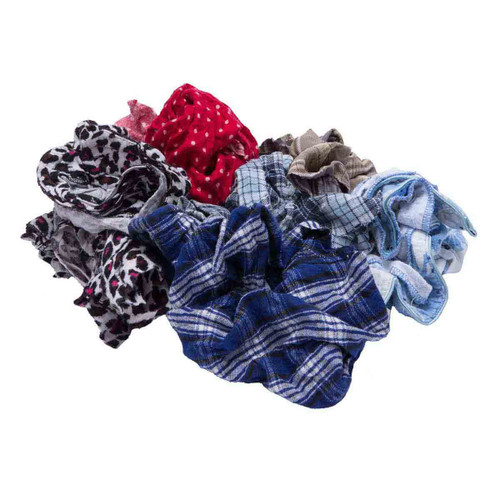 Flannel Rags Bulk Recycled Mixed Colors, shown crumpled