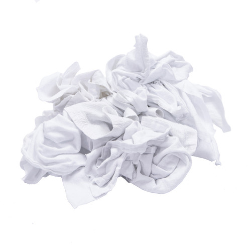 Flannel Rags Bulk Recycled White, shown crumpled