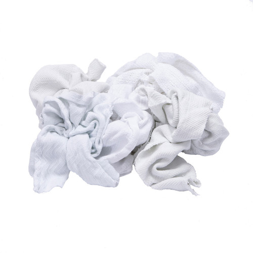 Thermal Rags Bulk Recycled White, shown crumpled