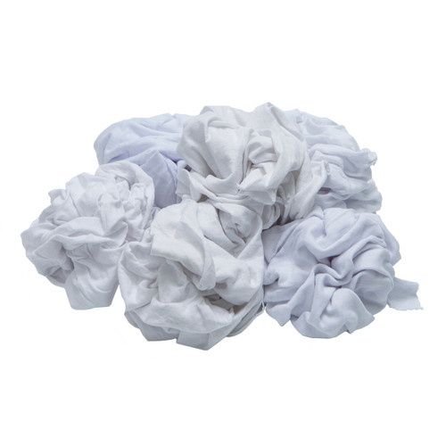Knit T-Shirt Rags Bulk New White, shown crumpled