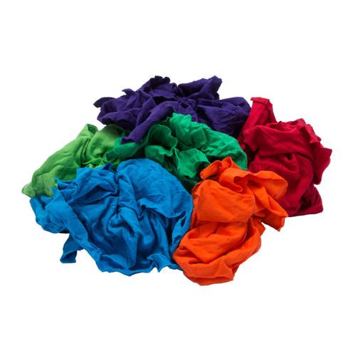 T-shirt Rags Bulk New Mixed Colors, shown crumpled