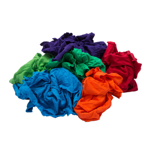 T-shirt Rags Bulk New Mixed Colors, shown crumpled