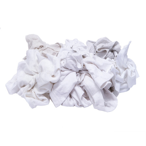 Polo/T-shirt Rags Bulk Recycled White, shown crumpled