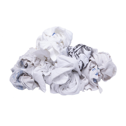 T-shirt Rags Bulk Recycled White with Logos, shown crumpled