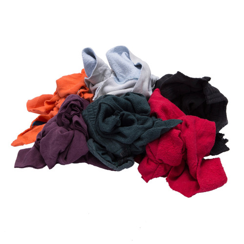 Sweatshirt Rags Bulk Recycled Mixed Colors, shown crumpled