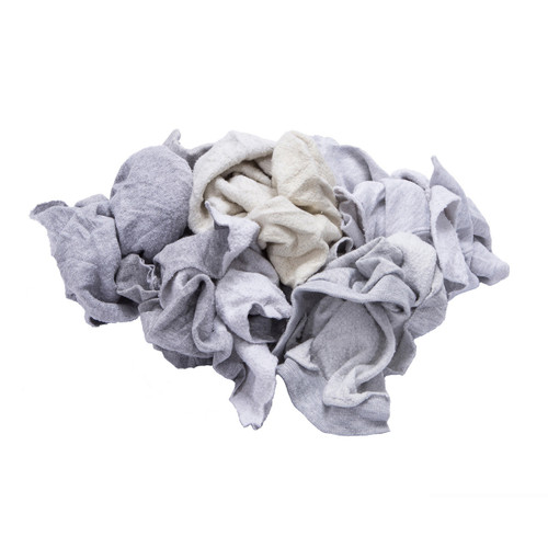 Sweatshirt Rags Bulk Recycled Gray, shown crumpled
