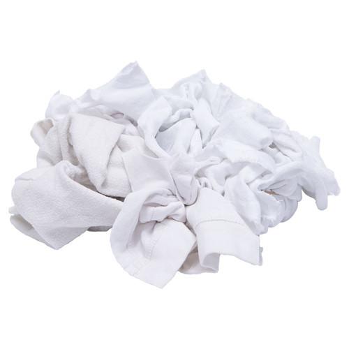 Sweatshirt Rags Bulk Recycled White, shown crumpled