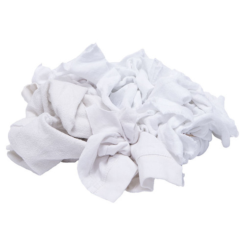 Sweatshirt Rags Bulk Recycled White, shown crumpled