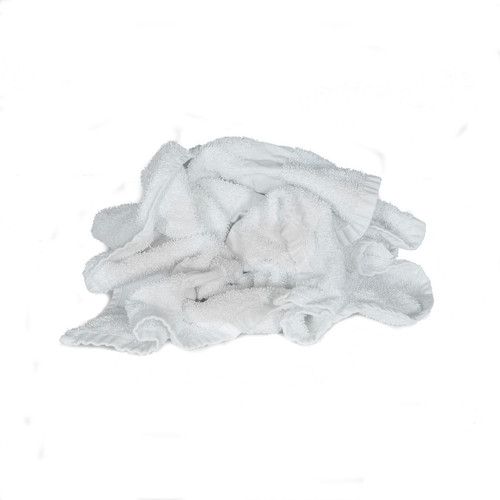Bulk Terry Bath Towels Recycled White, shown crumpled