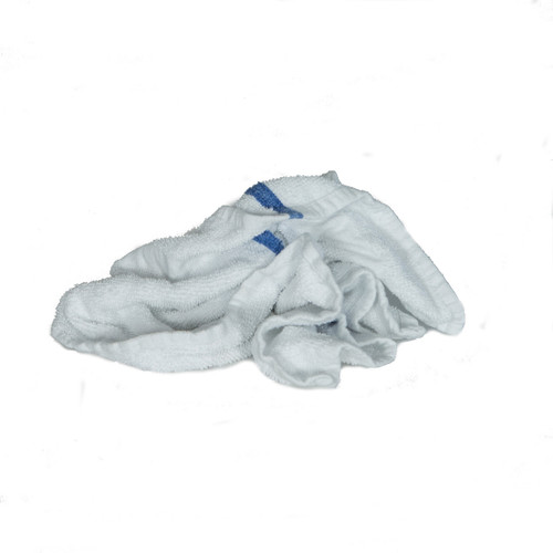 Bulk Terry Hand Towels Recycled White, shown crumpled