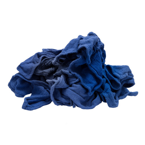 Bulk Huck Towels Cotton Recycled Blue, shown crumpled
