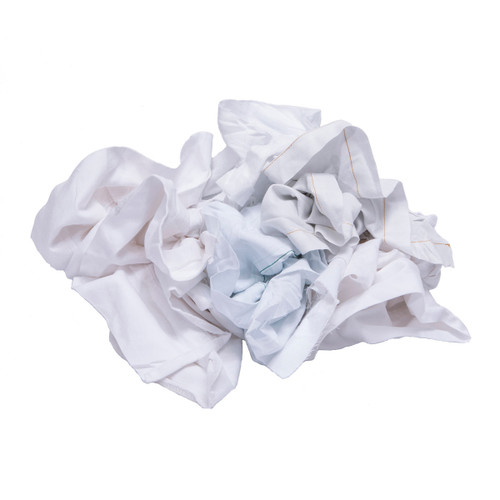 Sheeting Rags Bulk Recycled White, shown crumpled