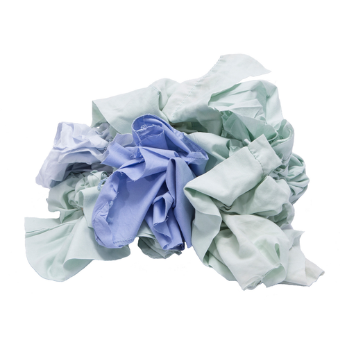 Sheeting Rags Bulk Recycled Mixed Colors, shown crumpled