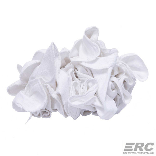 White Shop Towels Case Of Ten 50 Piece Bags New, shown crumpled