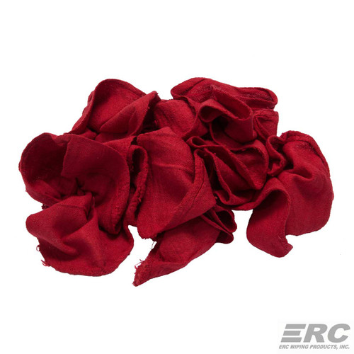 Red Shop Towels Bales New, shown crumpled