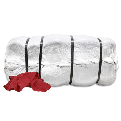Wholesale Red Shop Towels Bales New, shown packaged in a bale