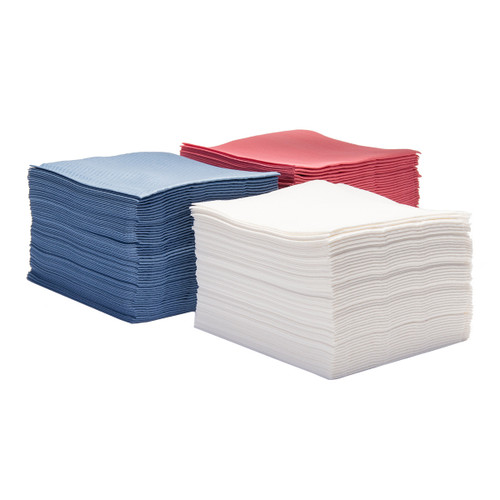 Hydrospun Cloth-Like Wipers Grade 80 Quarter Fold, shown in stacks of each color