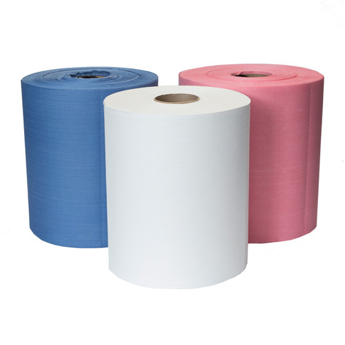 Hydrospun Cloth-Like Wipers Grade 80 Rolls, shown upright in a group of three with one of each color