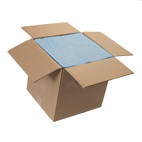 Sontara Cloth-Like Wipers Bulk Creped Flat Blue, shown boxed