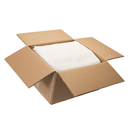 Spunlace Cloth-Like Wipers Bulk Creped Flat White, shown boxed