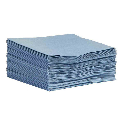 Sontara Cloth-Like Wipers Quarter Fold Smooth Blue, shown in a stack