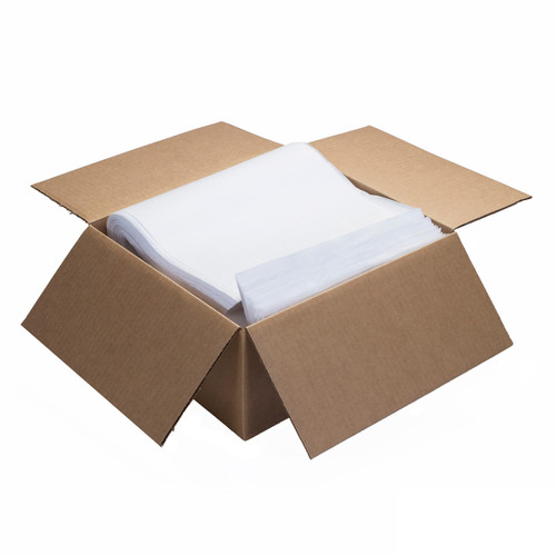 Spunlace Cloth-Like Wipers Bulk Smooth Flat 12x17 White, shown boxed