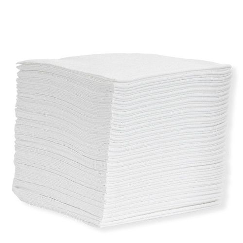Heavy Duty Cloth-Like Wipers Quarter Fold White -shown in a stack