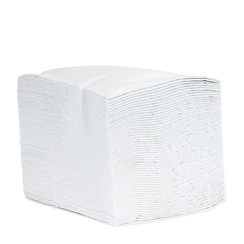 Wholesale Cloth-Like Wipers Quarter Fold White, shown in a stack
