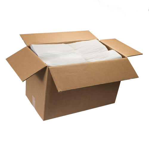 Scrim Durable Paper Wipers Bulk 4 Ply Flat White, shown boxed