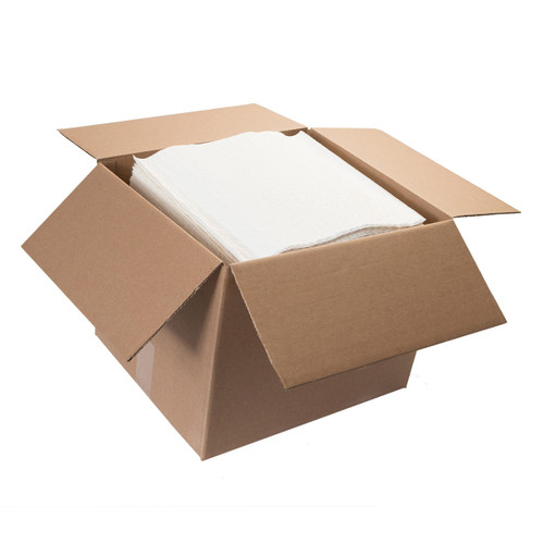 Scrim Durable Paper Wipers 4 Ply 900 Count Flat White, shown boxed
