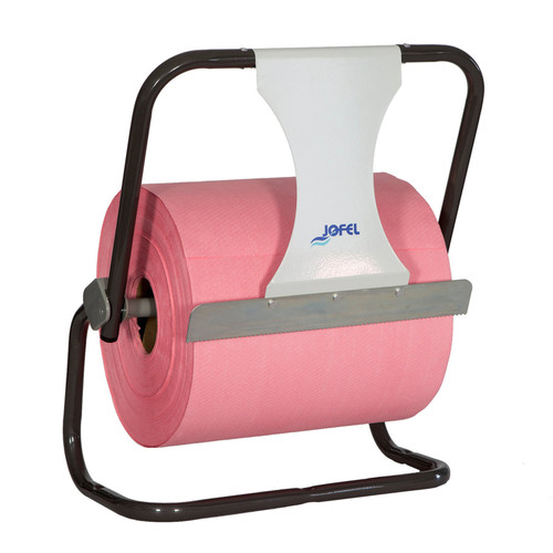 Jumbo Paper Wiper Rolls Wall Dispenser, shown upright with roll dispensed