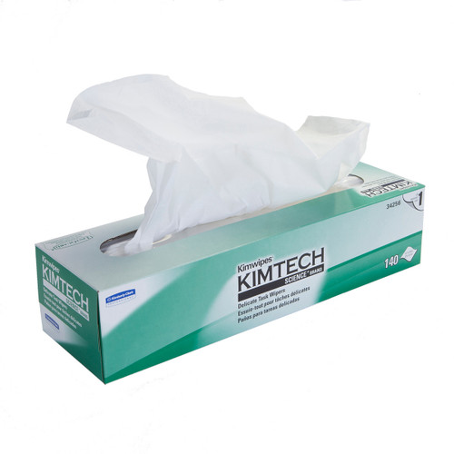 Kimwipes 34256 Delicate Task Wipes, shown flat with wipes dispensed