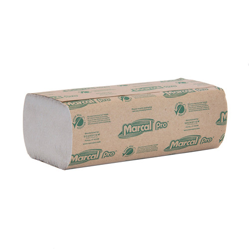 Paper Towels Multifold Brown Natural, shown in a sealed stack