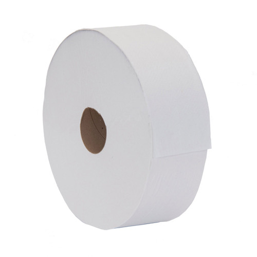 Toilet Tissue 2ply Jumbo Generic Rolls, shown on its side
