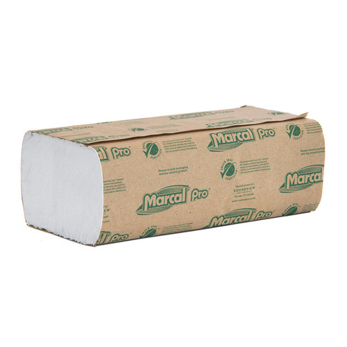 Paper Towels Multifold White, shown in a sealed stack