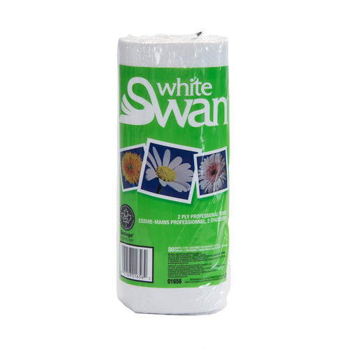 Paper Towel Rolls Household 2-Ply White, shown upright