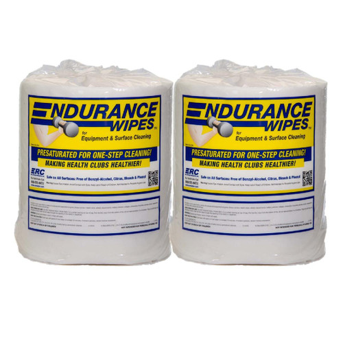 ERC Endurance Gym Wipes 2 Rolls + 2 Buckets Kit, shown upright in a pack of two