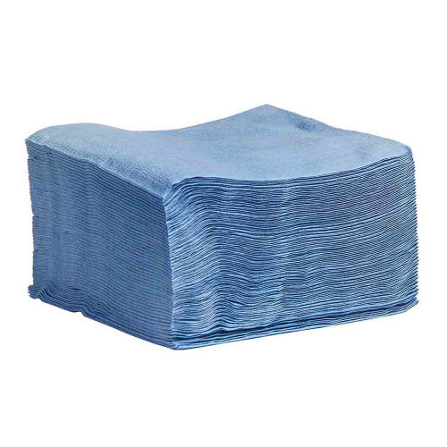 Sontara Cloth-Like Wipers Creped Quarter Fold Blue - GSA, shown in a stack