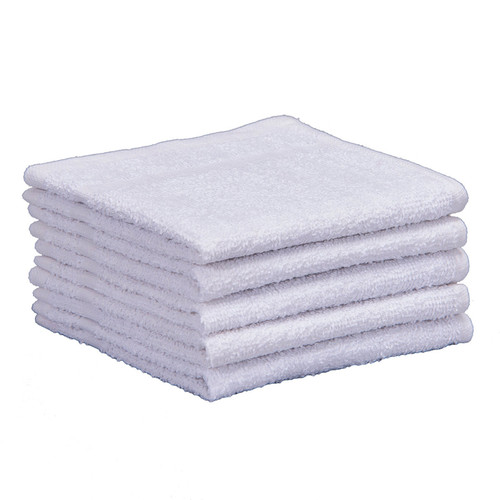 New White Cotton Terry Washcloths 12x12 - GSA, shown in a stack of five