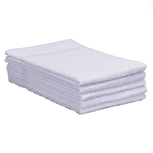 Cotton Terry Towels 16x27 Medium Weight White - Specials, shown in a stack of five