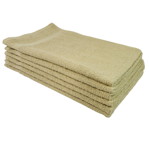 Cotton Terry Towels 16x27 Beige - Special, shown in a stack of five
