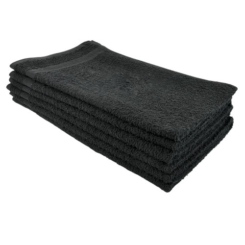 Cotton Terry Towels 16x27 Black - Special, shown in a stack of five
