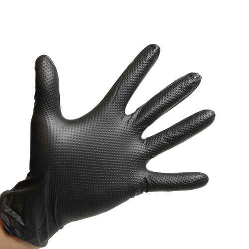 Black Nitrile Gloves Powder Free - 6 Mil - Raised Grip, shown palm out