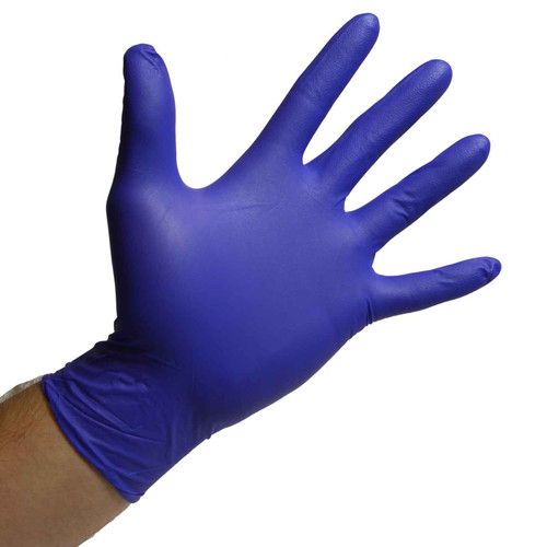 Violet Blue Nitrile Gloves Powder Free - 3 Mil, shown palm out