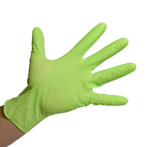 Green Nitrile Gloves Powder Free - 7 Mil, shown palm out